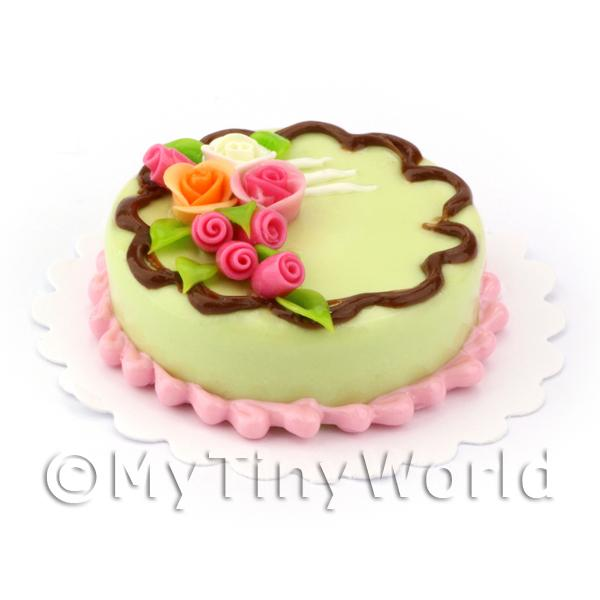 Dolls House Miniature Pale Green Rose Topped Cake