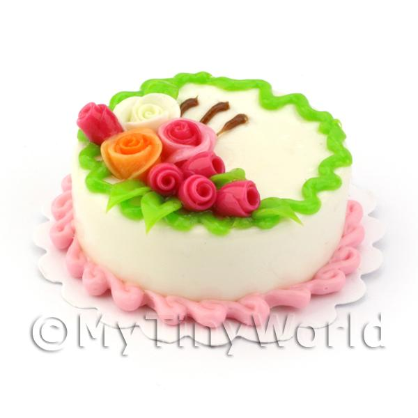 Dolls House Miniature Round White Rose Top Cake