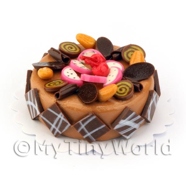 Dolls House Miniature Round Candy Topped Caramel Cake