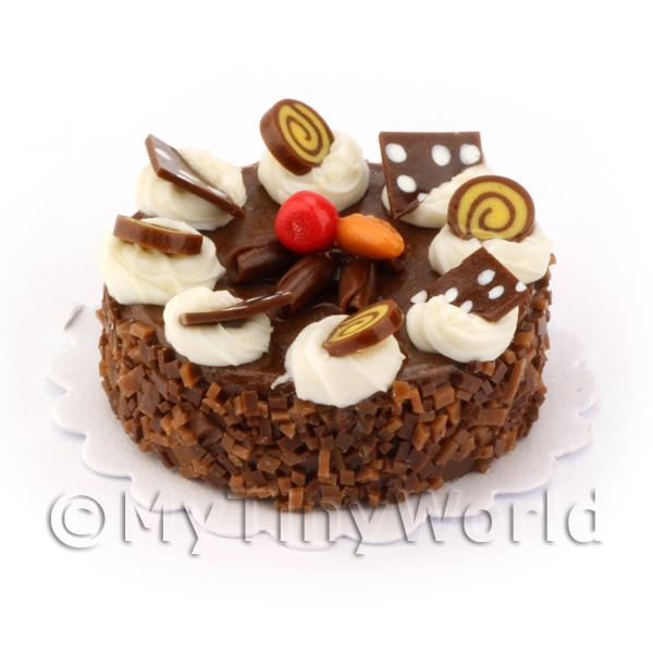 Dolls House Miniature Round Chocolate Candy Cake