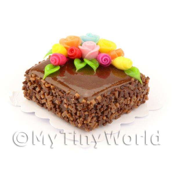 Dolls House Miniature Square Chocolate Brownie Cake