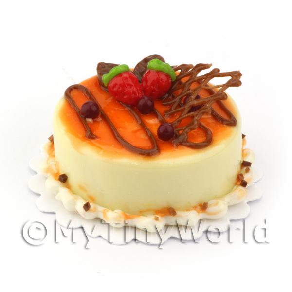 Dolls House Miniature  | Miniature Pale Yellow Iced Chocolate Orange Cake