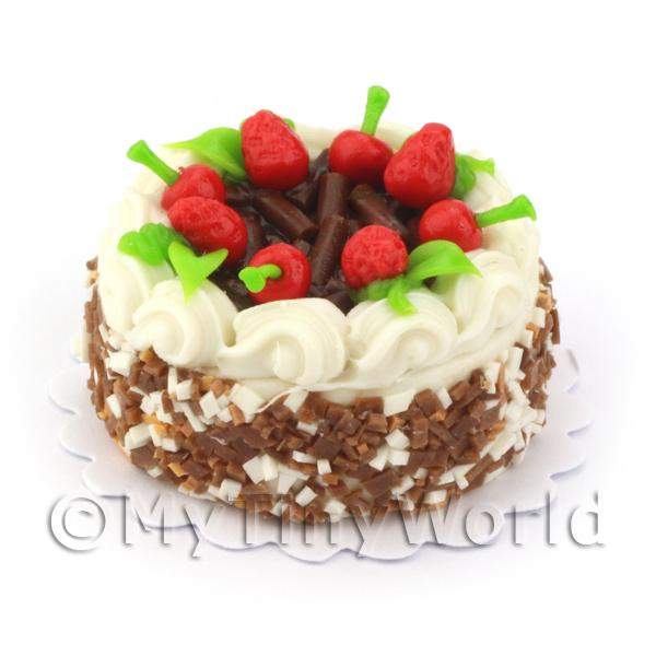 Dolls House Miniature Chocolate and Strawberry Cake