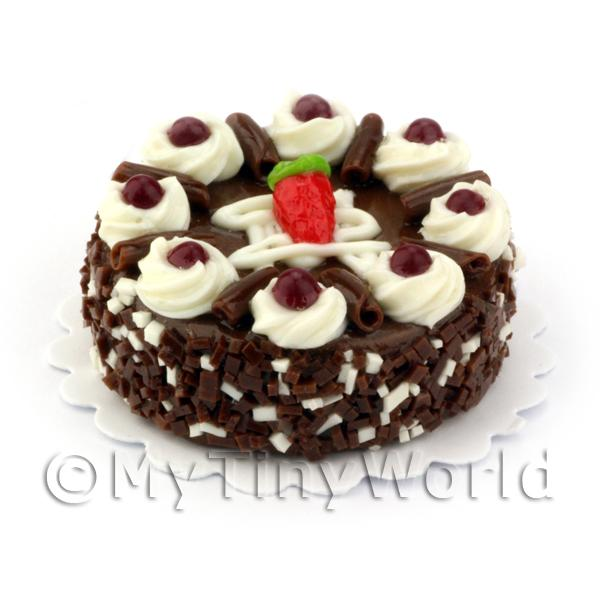 Dolls House Miniature Black Cherry and Chocolate Cake