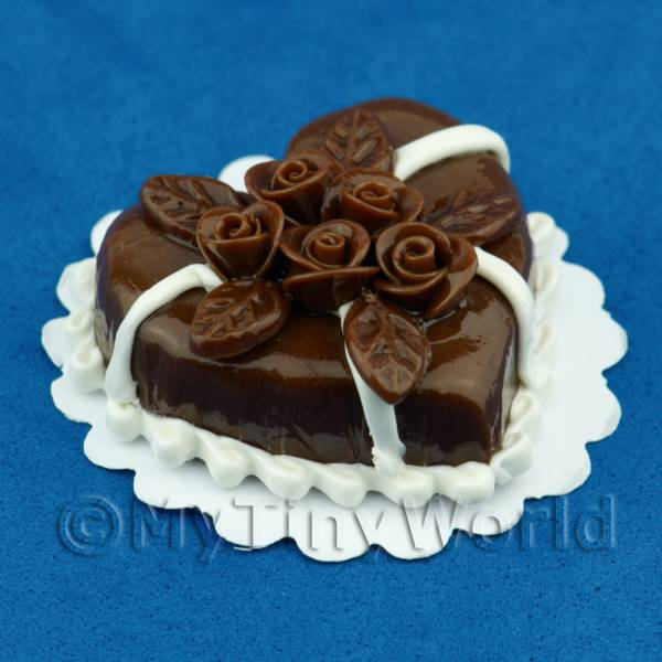 Dolls House Miniature Chocolate Heart Cake