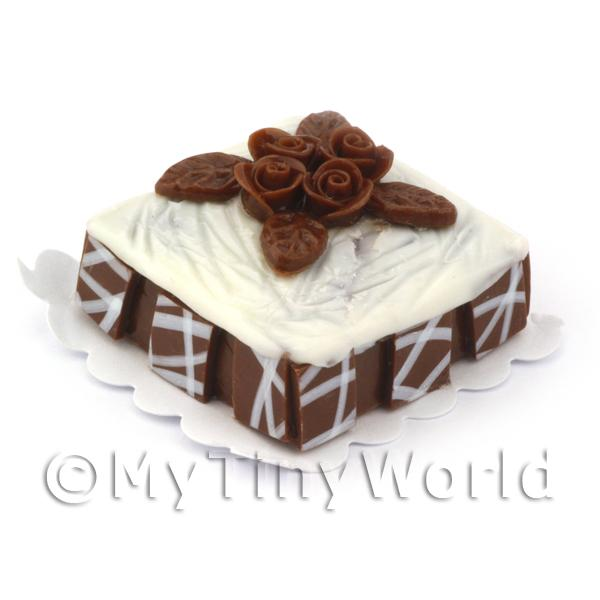 Dolls House Miniature  | Dolls House Miniature Square Chocolate Orange Cake