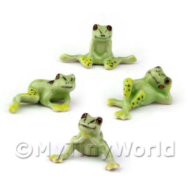 Set of 4 Dolls House Miniature Ceramic Comical Frogs