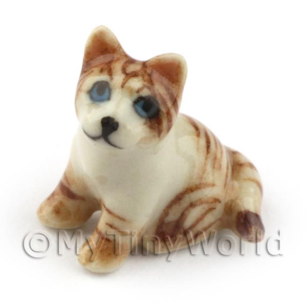 Dolls House Miniature  Ceramic Sitting Brown Tabby Cat