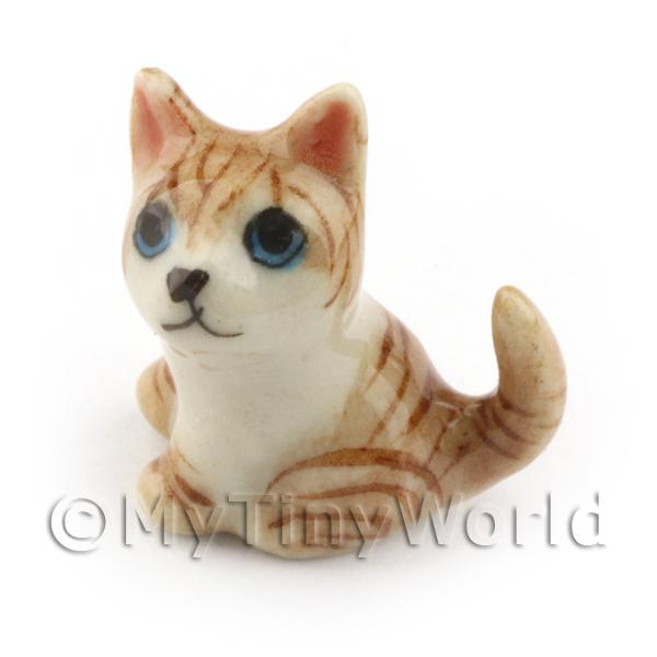 Dolls House Miniature  Sitting Brown Tabby Cat