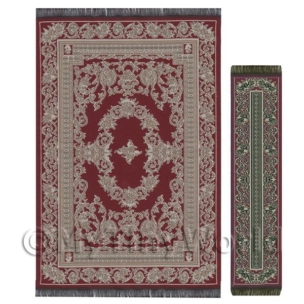 Dolls House Miniature  | Dolls House Large French Provincial Rectangular Rug And Runner (FPLRR01)