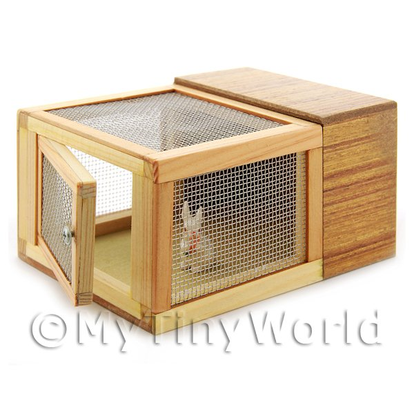 Dolls House Miniature Wooden Rabbit Hutch