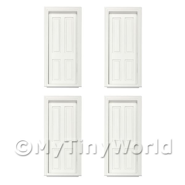 4 x Dolls House Miniature Internal White Painted 4 Panel Doors