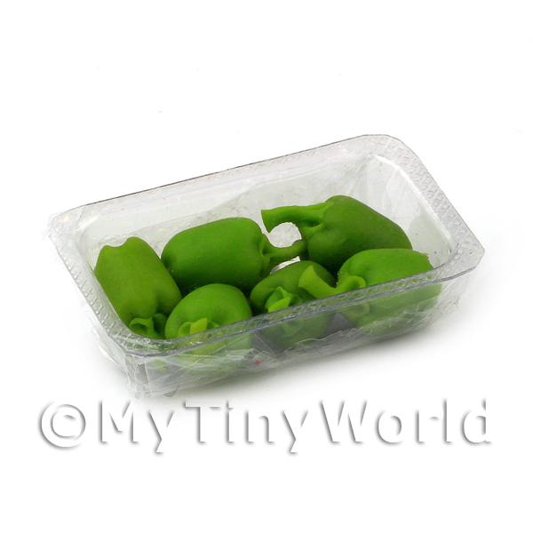 Dolls House Miniature Punnet of Green Bell Peppers