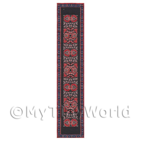 Dolls House Miniature 24cm Black And Red Pattern Hall Runner (HR4)