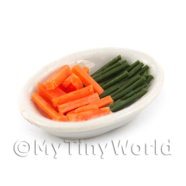 Dolls House Miniature Carrots And Beans in a Serving Dish