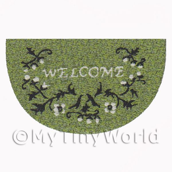 Dolls House 62mm Green Floral Half Moon Welcome Mat (WM14)