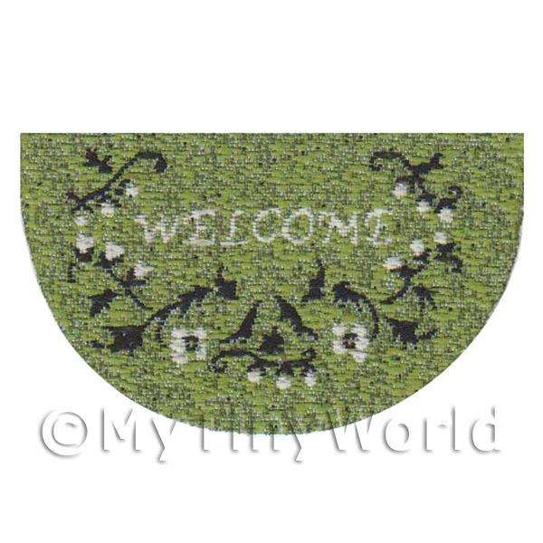 Dolls House 43mm Green Floral Half Moon Welcome Mat (WM19)