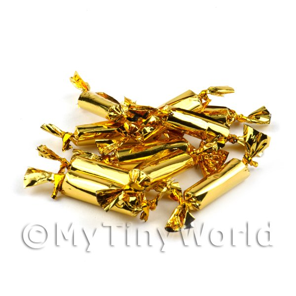 Dolls House Miniature  | Dolls House Miniature Set Of 10 Gold Christmas Crackers