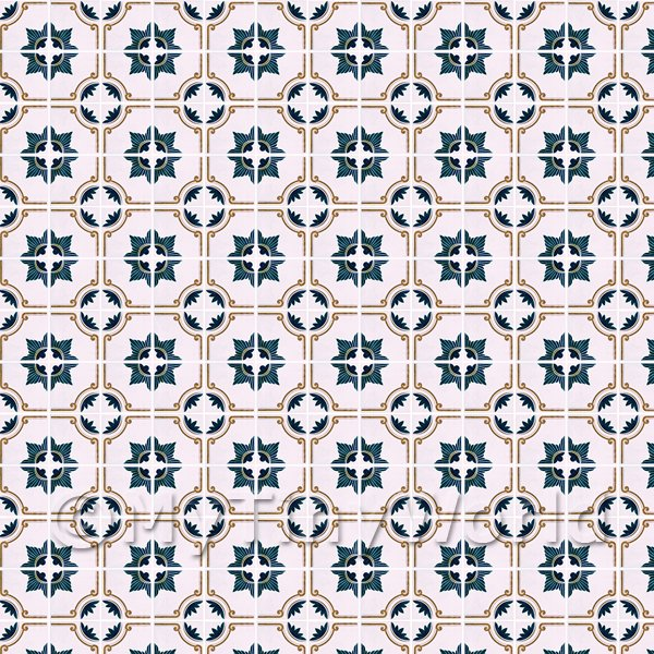 1:12th Blue And Brown Star Design Small Tiles On A Pale Rose Background