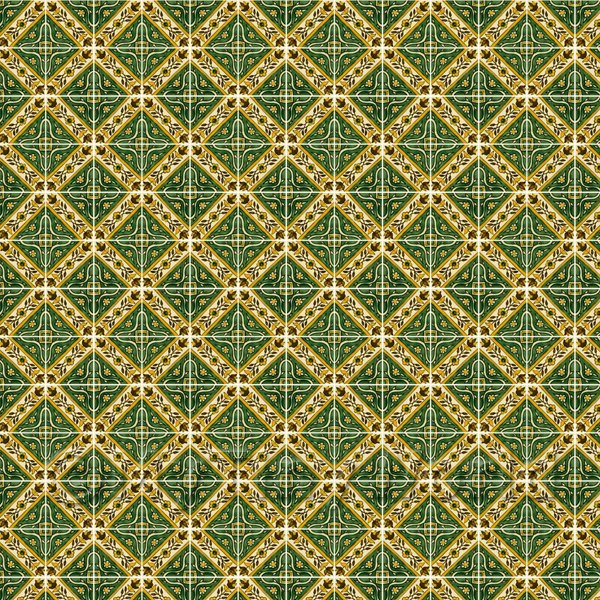 1:12th Green Star With Flower Border Tile Sheet With White Grout