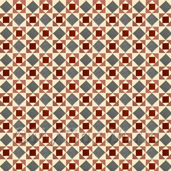 1/12 Scale Dolls House Miniatures  | 1:12th Red And Grey Geometric Design Tile Sheet With White Grout