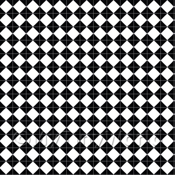 Dolls House Miniature  | 1:12th Classic Small Black And White Diamond Design Tile Sheet