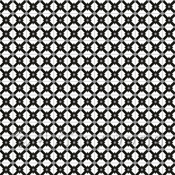 Dolls House Miniature  | 1:12th Black And Grey Cross Design Tile Sheet With Dark Grey Grout