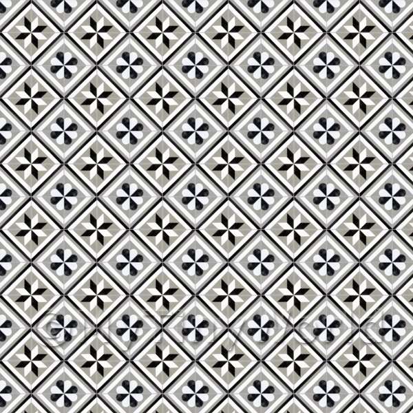1:12th Black And Grey Geometric Design Tile Sheet With Grey Grout