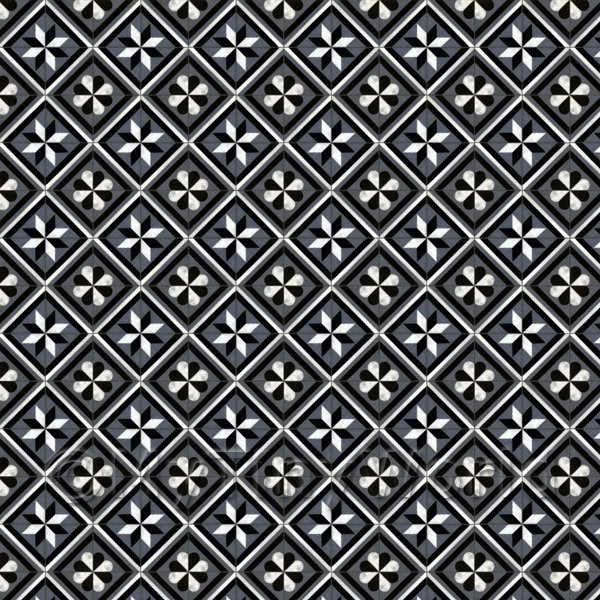 Dolls House Miniature  | 1:12th Charcoal And Grey Geometric Design Tile Sheet With Dark Grout