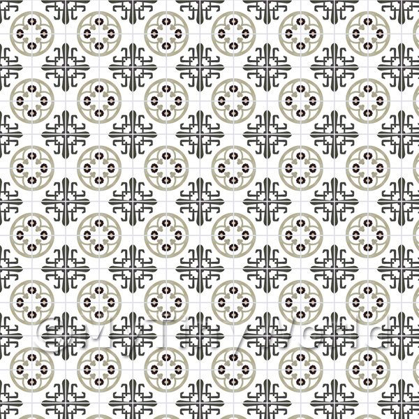Dolls House Miniature  | 1:12th Grey And Black Styalised Pattern Tile Sheet With Grey Grout