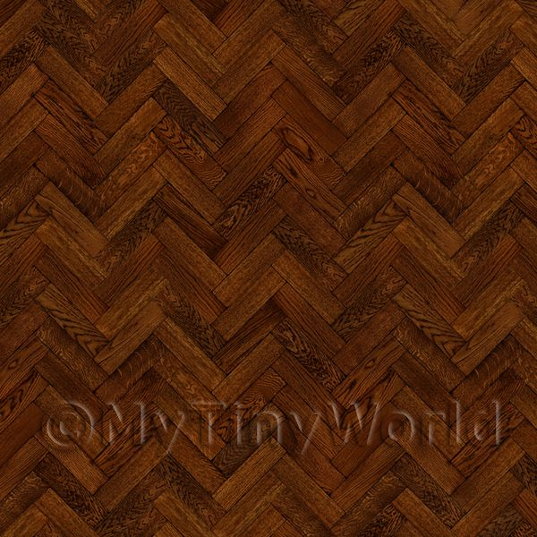 Dolls House Miniature  | Pack of 5 Dolls House Parquet Flooring 9 Inch Cocoa Colour Oak Strip Effect Sheets