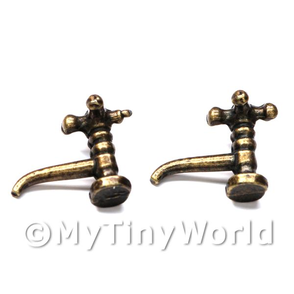 Dolls House Miniature  | 2x Dolls House Miniature Antique Brass Coloured Metal Cross Top Taps