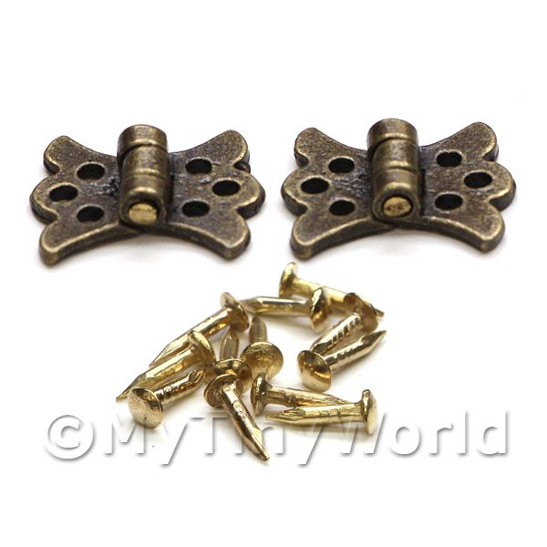 Dolls House Miniatures  | 2x Dolls House Miniature Ornate Brass Butterfly Hinges And 12 Screws