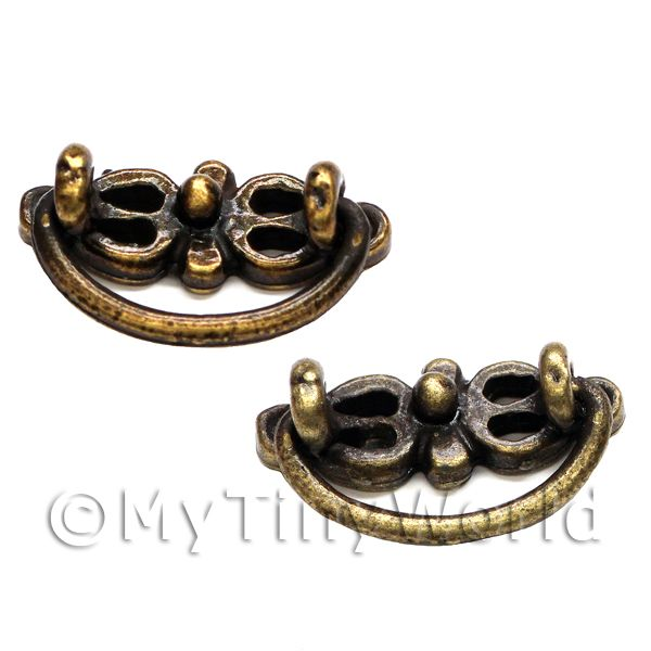 2x Dolls House Miniature Antique Brass Working Ornate Drawer Pulls