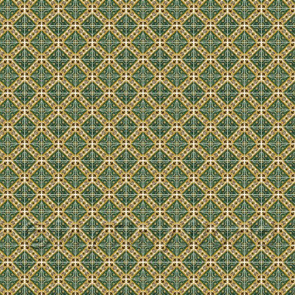 1:48th Large Green Star With Flower Border Tile Sheet With White Grout