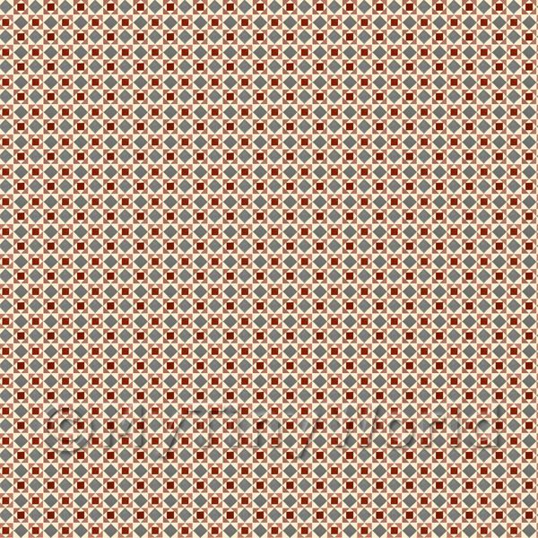 1:48th Red And Grey Geometric Design Tile Sheet With White Grout