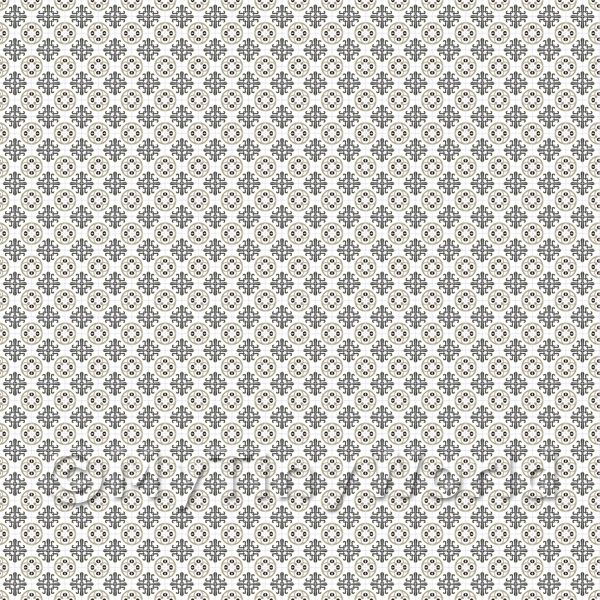 1:48th Grey And Black Styalised Pattern Tile Sheet With Grey Grout