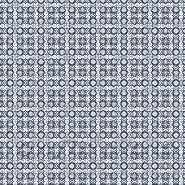 Dolls House Miniature  | 1:48th Mixed Blue Ornate Pattern Tile Sheet With Light Grey Grout