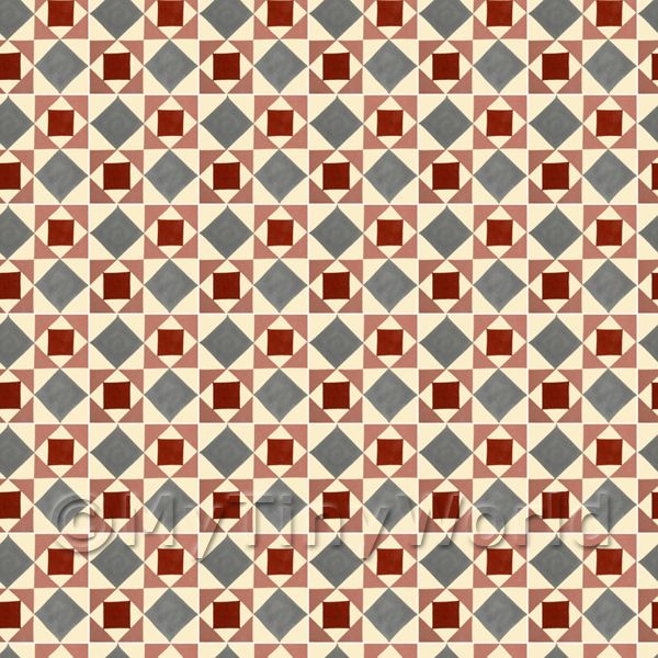 Dolls House Miniature  | 1:24th Large Red And Grey Geometric Design Tile Sheet With White Grout