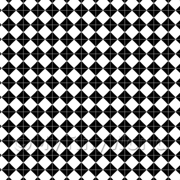 Dolls House Miniature  | 1:24th Large Classic Black And White Diamond Design Tile Sheet