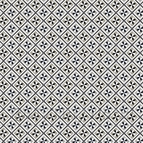 1:24th Black And Grey Geometric Design Tile Sheet With Grey Grout