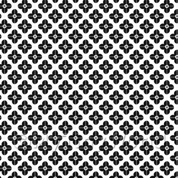 Dolls House Miniature  | 1:24th Black Flower Design Tile Sheet With Pale Grey Grout