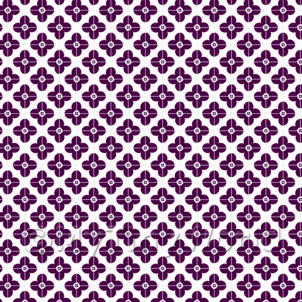 Dolls House Miniature  | 1:24th Purple Flower Design Tile Sheet With Pale Grey Grout