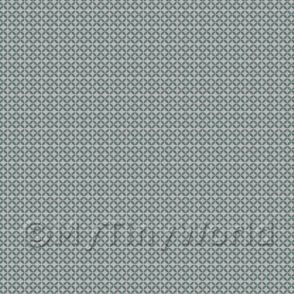 1:24th Blue/Green On Grey Circles Tile Sheet With Grey Grout