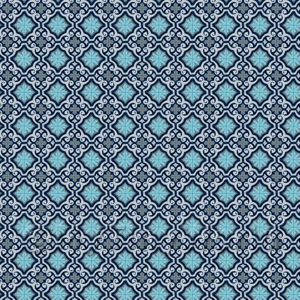 1:24th Navy, Pale And Sky Blue Ornate Tile Sheet With Blue Grout