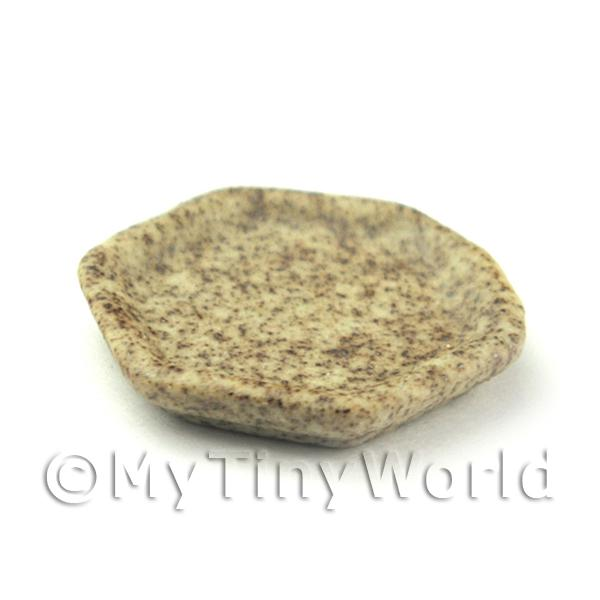 Dolls House Miniature  | 17mm Six Sided Dolls House Miniature Stoneware Plate