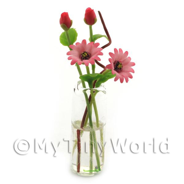 4 Miniature Pink Multi-Petal Long Stemmed Flowers