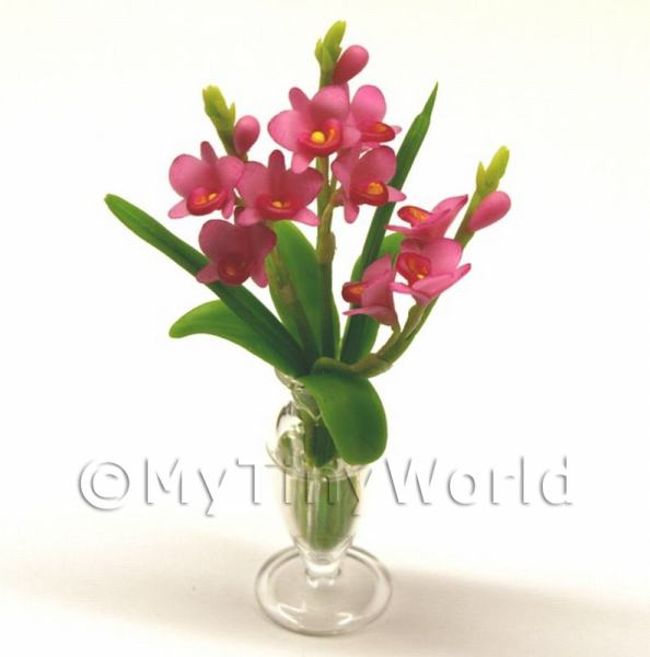 Dolls House Miniature  | Dolls House Miniature Pink Dendrobium Orchids in a Glass Vase