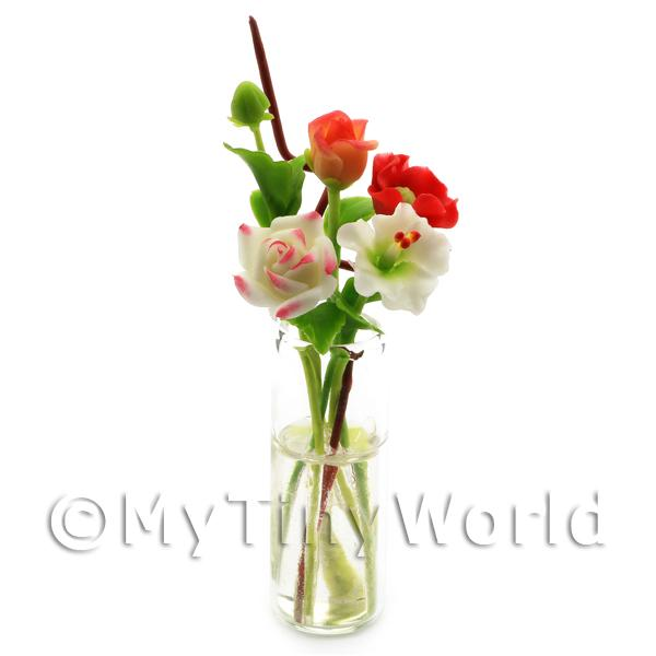 Dolls House Miniature Mixed Cut Flowers in a Glass Vase
