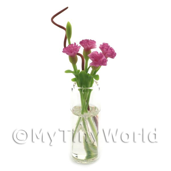 4 Miniature Long Stemmed Light Purple Carnations in a Glass Vase